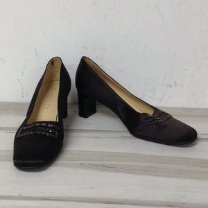 Gucci Brown Satin Beaded Logo Square Toe Shoe 7